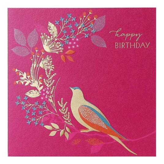 Golden Bird Birthday Card