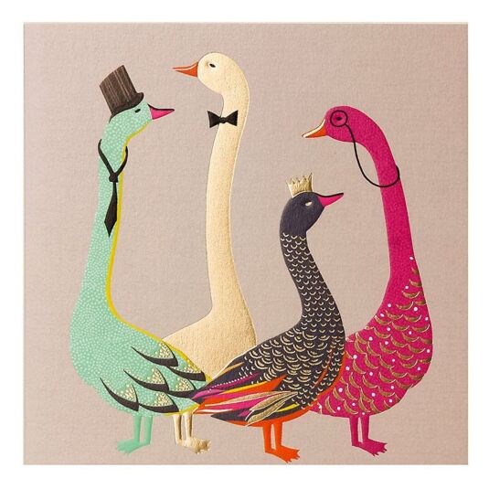 Smartly Dressed Geese Greeting Card