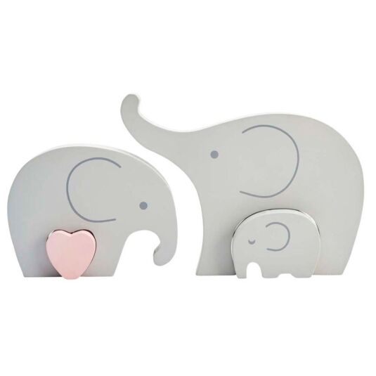 Elephant Family Wooden Decoration
