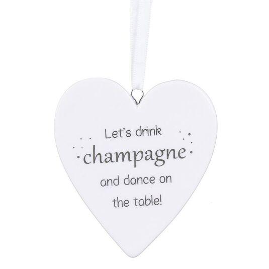 'Let's Drink Champagne' Ceramic Hanging Heart Decoration