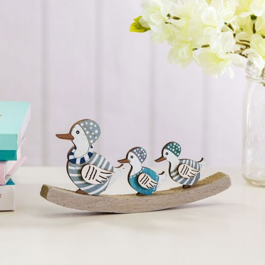 Duck & Ducklings Go Swimming Wooden Decoration
