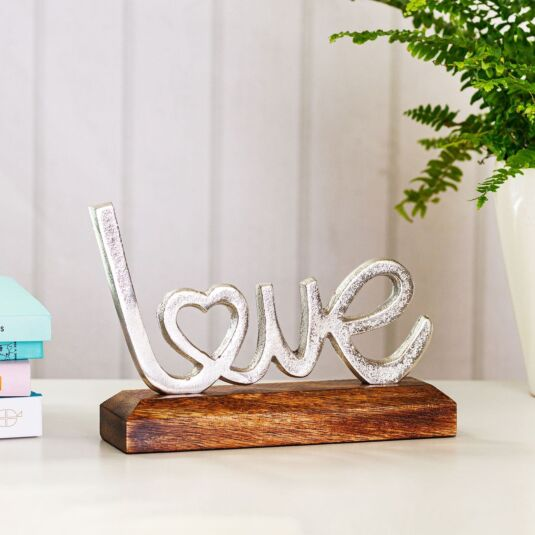 Silver Metal 'Love' on Wooden Base Decoration