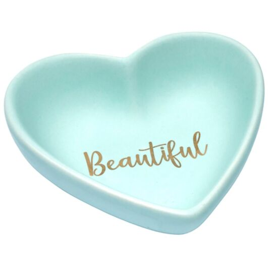 Elise Heart Shaped Sentiment Dish 'Beautiful'