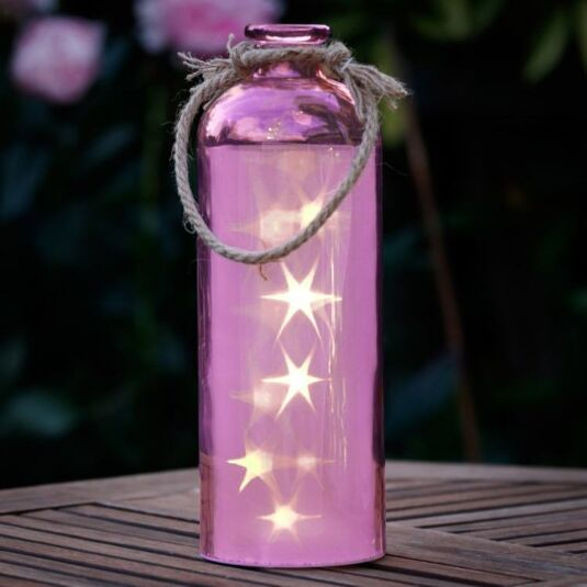 Giant LED Stars in a Pink Bottle
