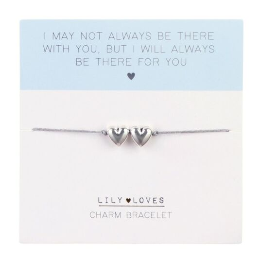 Lily Loves 'Always Be There For You' Double Heart Charm Bracelet