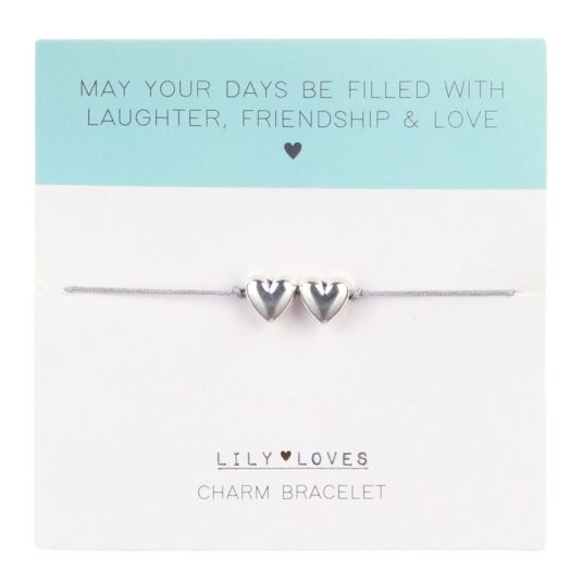 Lily Loves 'Laughter, Friendship & Love' Double Heart Charm Bracelet