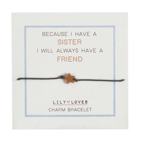 Lily Loves 'Because I Have a Sister' Charm Bracelet