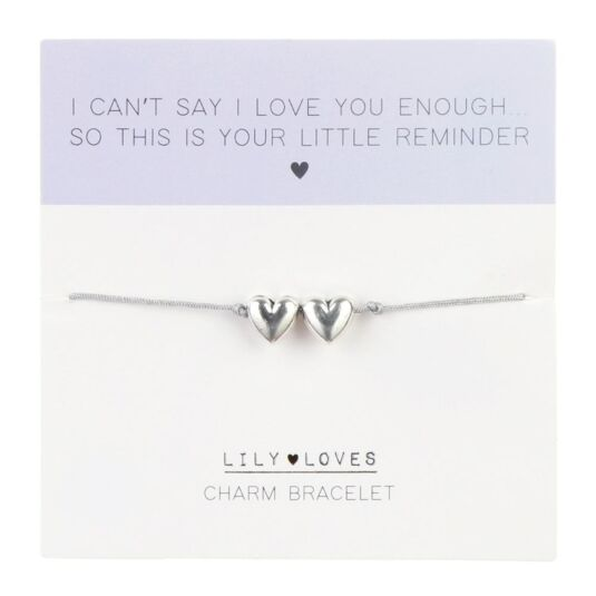 Lily Loves 'Little Reminder' Double Heart Charm Bracelet