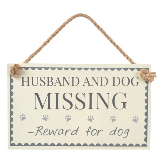 Husband & Dog Missing Sign