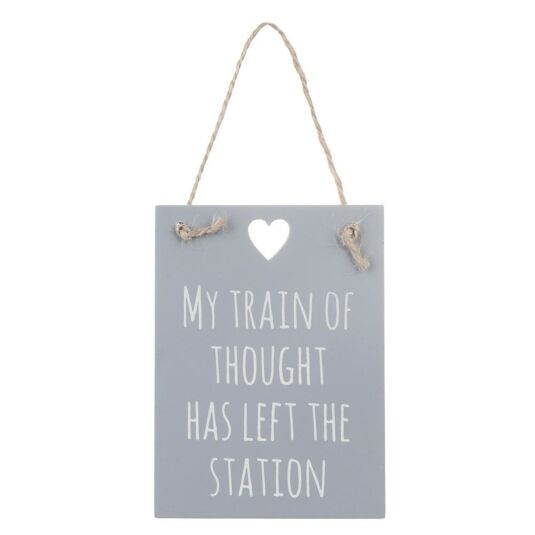 'Train of Thought' Wooden Sign