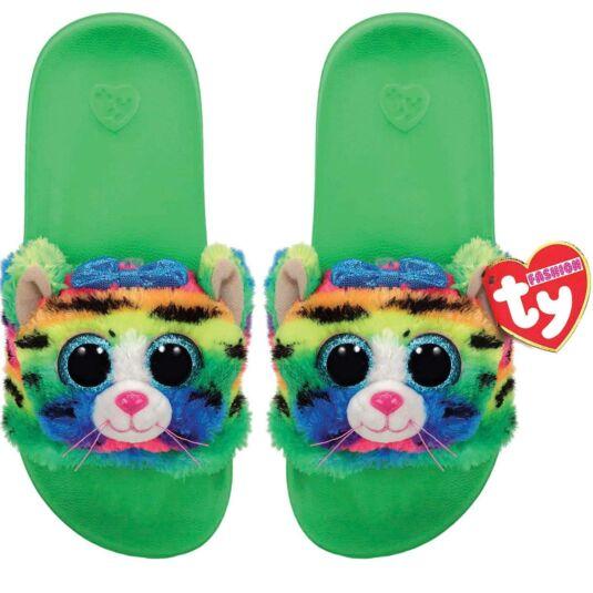 Tigerly Green Beanie Boo Medium Slides