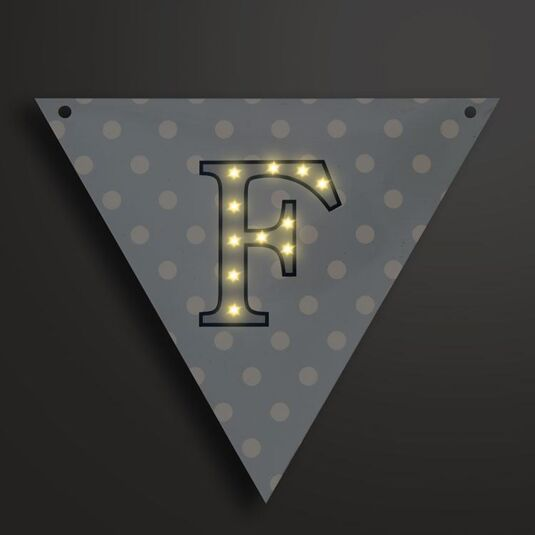 Light Up LED Bunting Flag Letter F