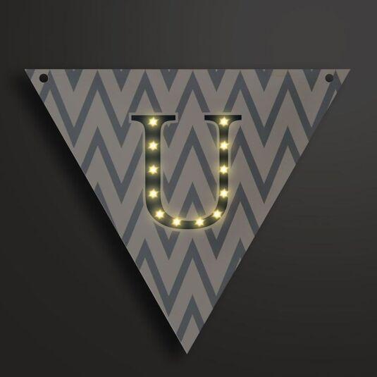 Light Up LED Bunting Flag Letter U