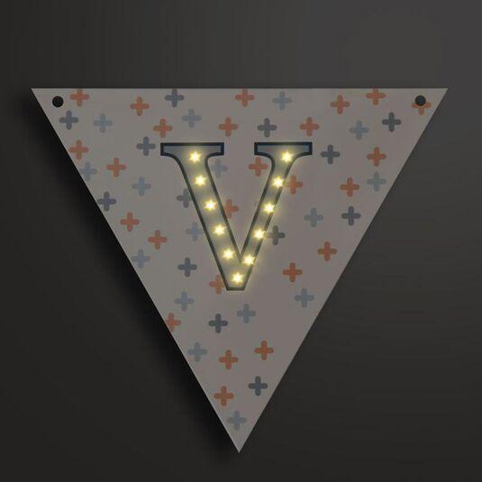 Light Up LED Bunting Flag Letter V