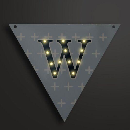 Light Up LED Bunting Flag Letter W