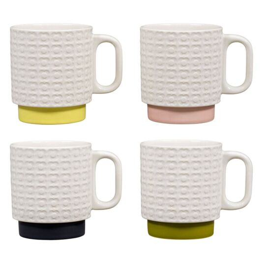 Pressed Flower Set of Four Stacking Mugs