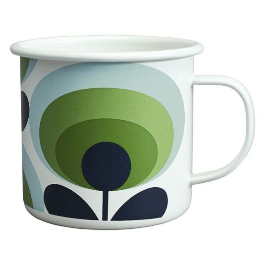 70's Oval Flower Apple Green Enamel Mug