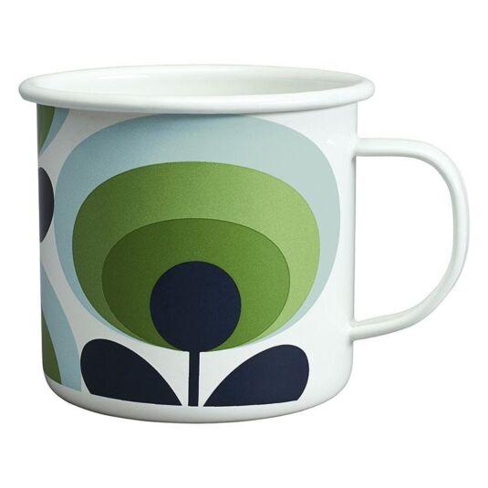 70's Oval Flower Apple Green Enamel Mug