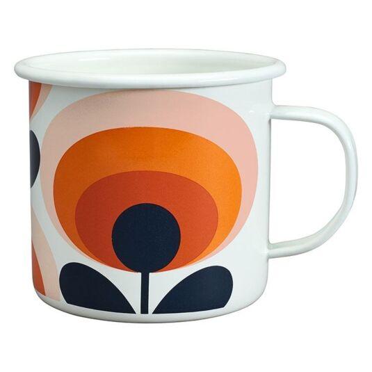 70's Oval Flower Persimmon Orange Enamel Mug