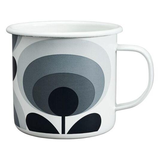 70's Oval Flower Slate Enamel Mug