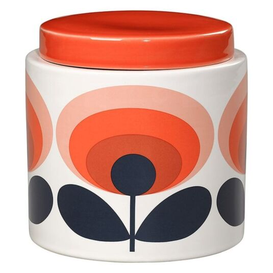 70's Oval Flower Orange Boxed Storage Jar