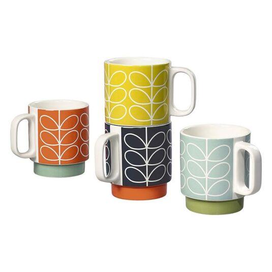 Linear Stem Set of 4 Boxed Stacking Mugs