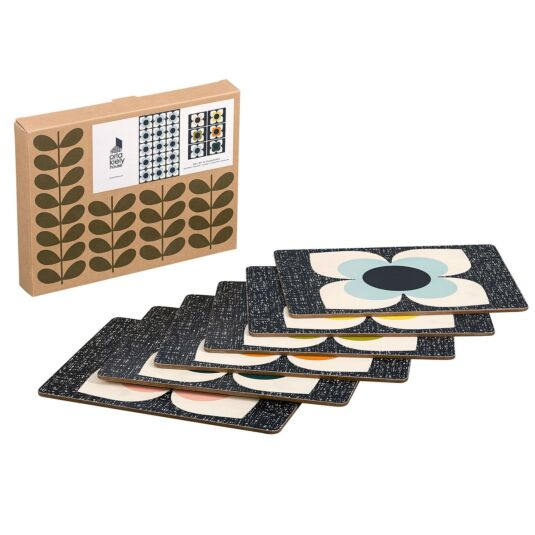 Scribble Square Flower Placemats - Set of 6