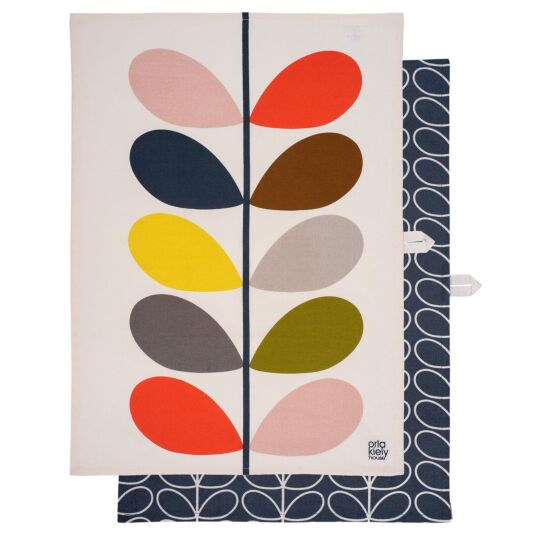 Multi Stem Slate Tea Towels - Set of 2