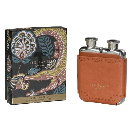 Kiku Brown Brogue Double Hip Flask