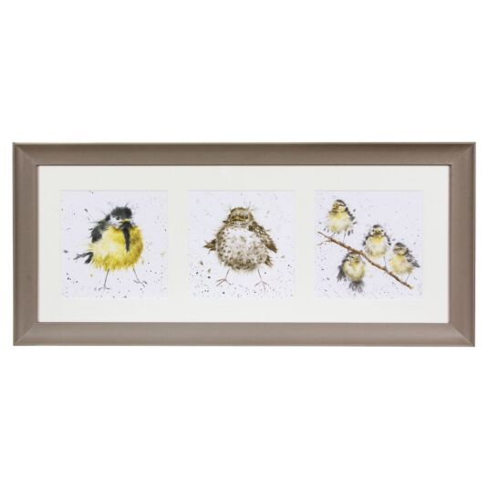 A Trio Of Fledglings Triple Print With Taupe Frame
