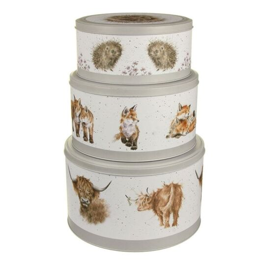Set of 3 Cake Tins (Cow, Fox, Hedgehog) Wrendale