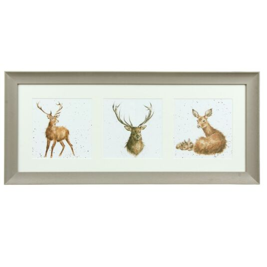 A Trio of Deer Taupe Triple Framed Print
