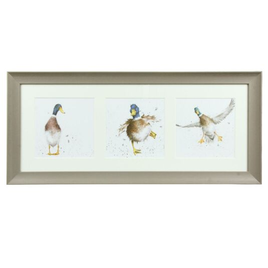 A Trio of Ducks Taupe Triple Framed Print