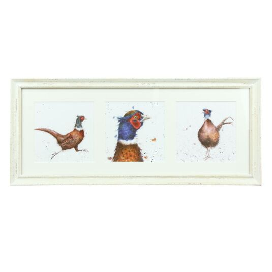 A Trio of Pheasants Triple Print With Cream Frame