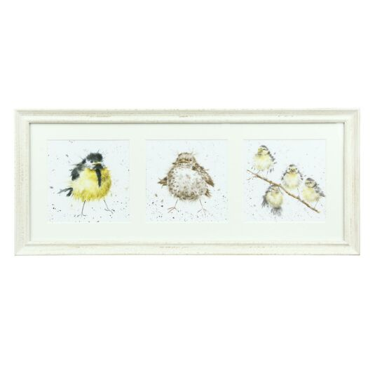 A Trio of Fledglings Triple Print With Cream Frame