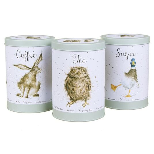 wrendale the country set tea coffee sugar canisters