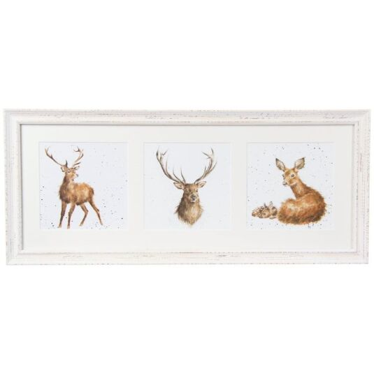 Trio Of Deer Triple Print With Cream Frame