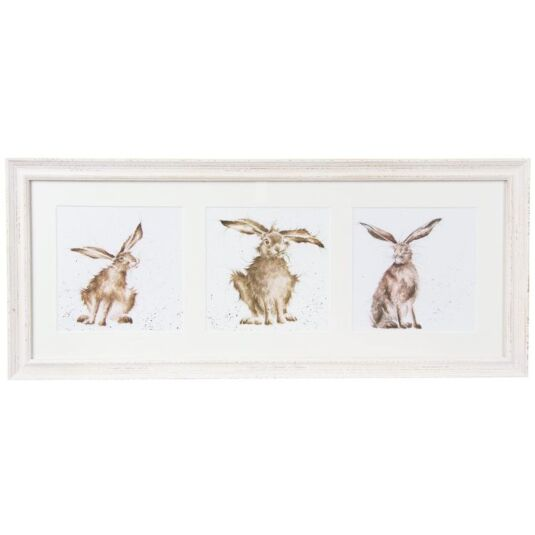 A Trio Of Hares Triple Print with Cream Frame