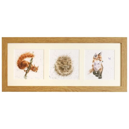 Woodland Trio Triple Print With Oak Frame