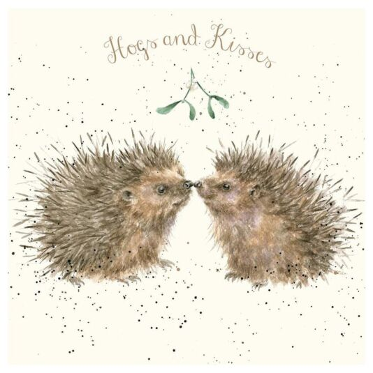 'Hogs and Kisses' Luxury Gold Foiled Christmas Card