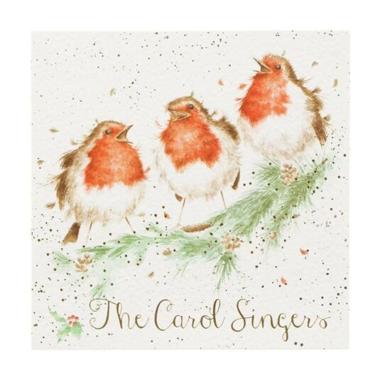 'The Carol Singers' Box of 8 Luxury Gold Foiled Christmas Cards
