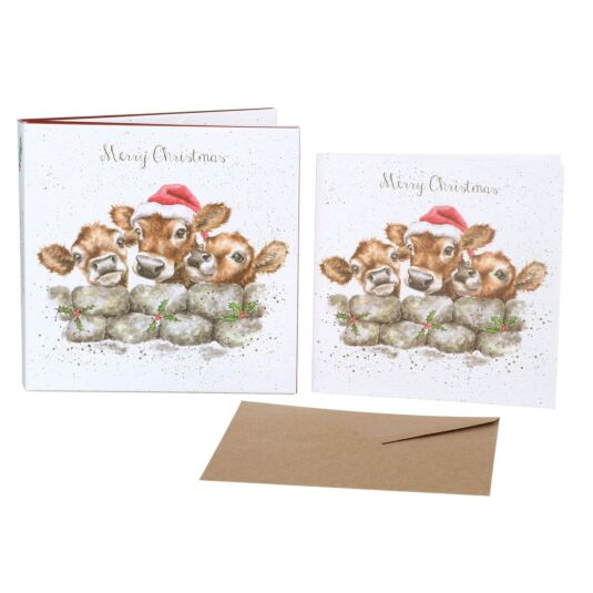 'Christmas Calves' Set of 8 Luxury Gold Foiled Christmas Cards