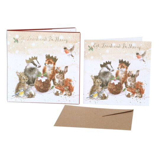 'The Christmas Party' Set of 8 Luxury Gold Foiled Christmas Cards