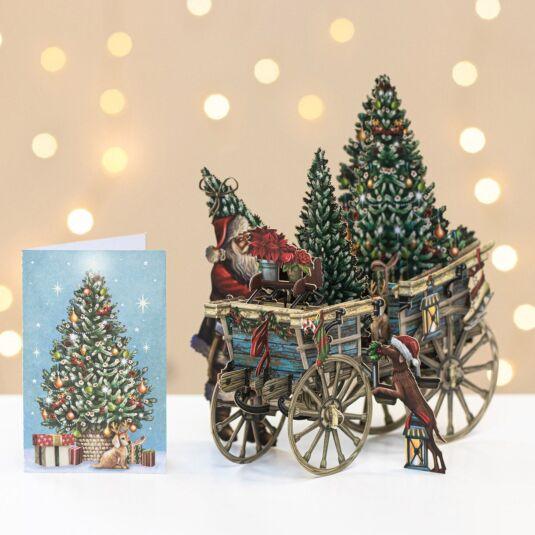 Santa's Wagon 3D Christmas Card