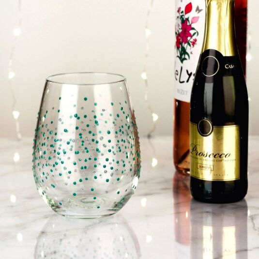 Hand Painted Green Spots Stemless Wine Glass