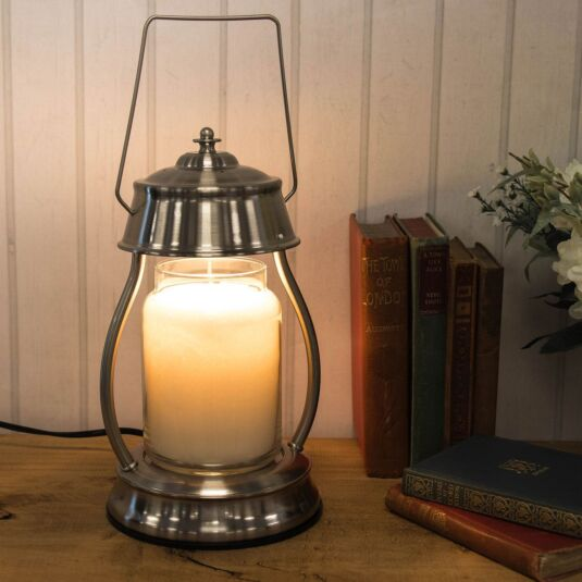 Brushed Nickle Hurricane Candle Warmer Lantern