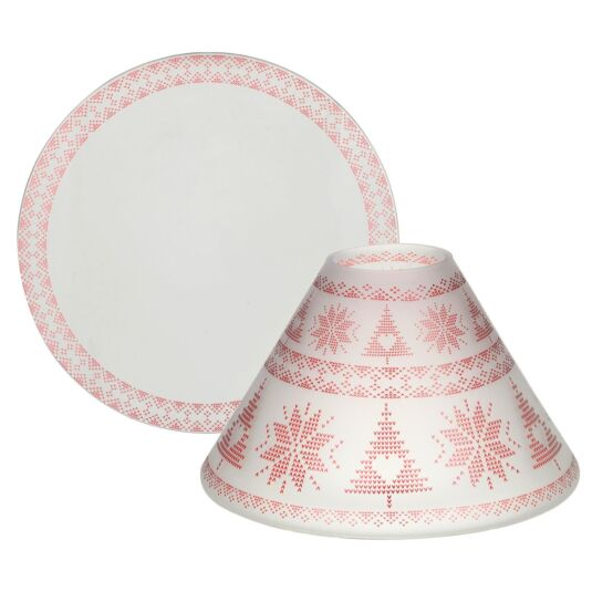 Red Nordic Frosted Glass Large Shade and Tray
