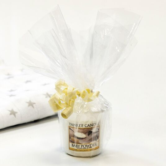 Cellophane Wrapped Baby Powder Sampler Votive