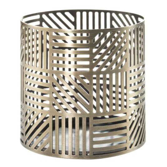 Crosshatch Brass Fragrance Spheres Candle Holder