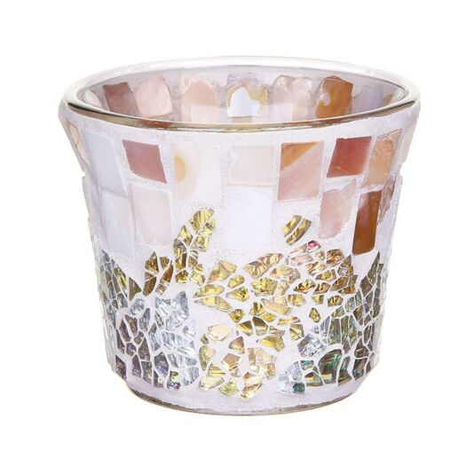 Gold & Pearl Mosaic Sampler Votive Holder